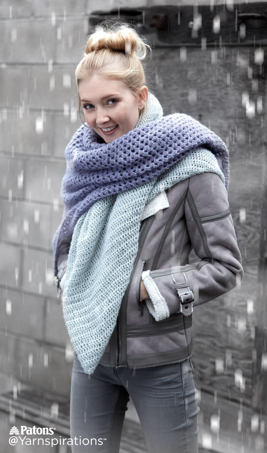 Patons Crochet Lace Blanket Scarf