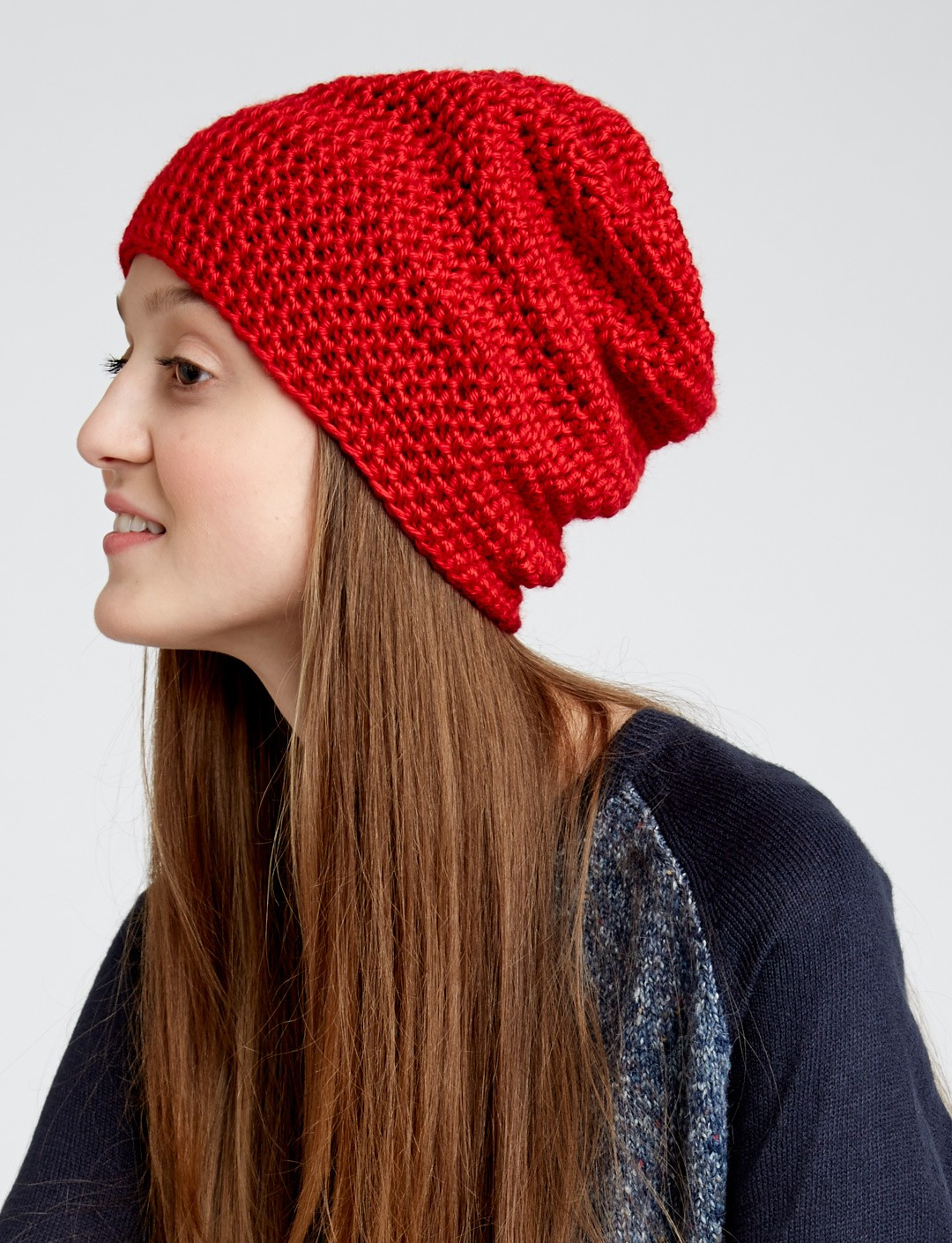 Free Crochet Pattern For Ladies Beanie Hat : Slouchy Beanie - Patterns Yarnspirations