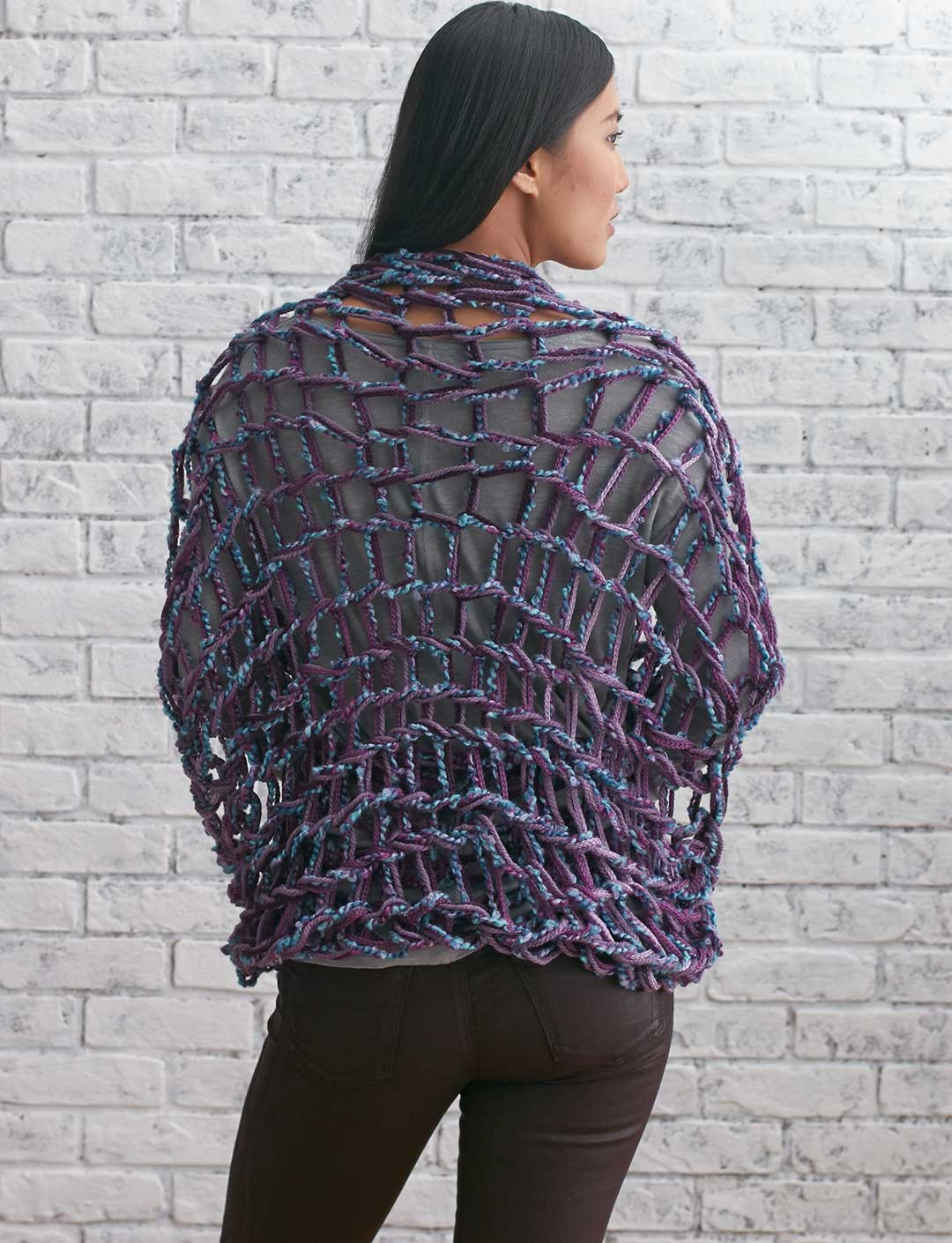Shrug Knitting Patterns For Beginners : Bernat Arm Knit Shrug, Arm Knit Pattern Yarnspirations