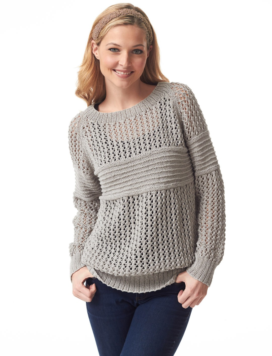 Free Knitting Patterns Bags : Bernat Social Network Pullover, Knit Pattern Yarnspirations