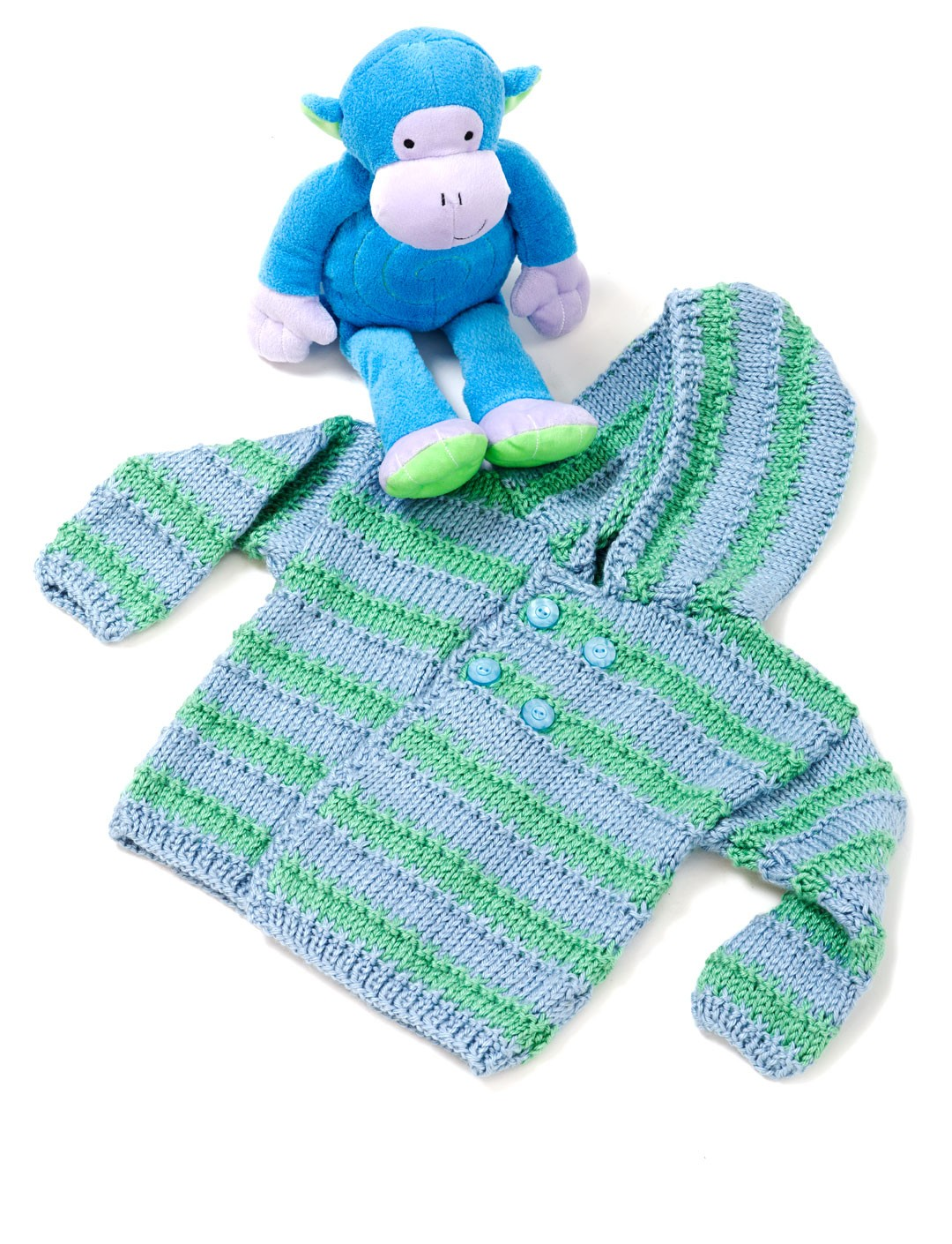 Caron Baby Boy Hooded Sweater, Knit Pattern Yarnspirations