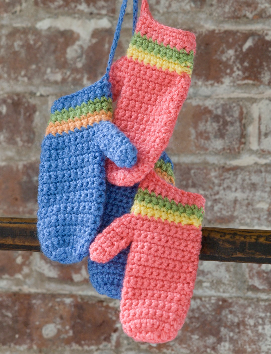 Caron Crochet Striped Mittens, Crochet Pattern ...
