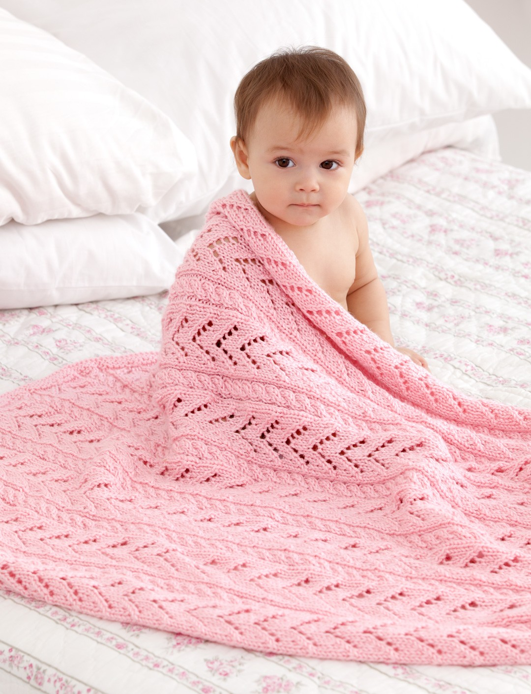 Caron Little Girl Pink Baby Blanket, Knit Pattern Yarnspirations