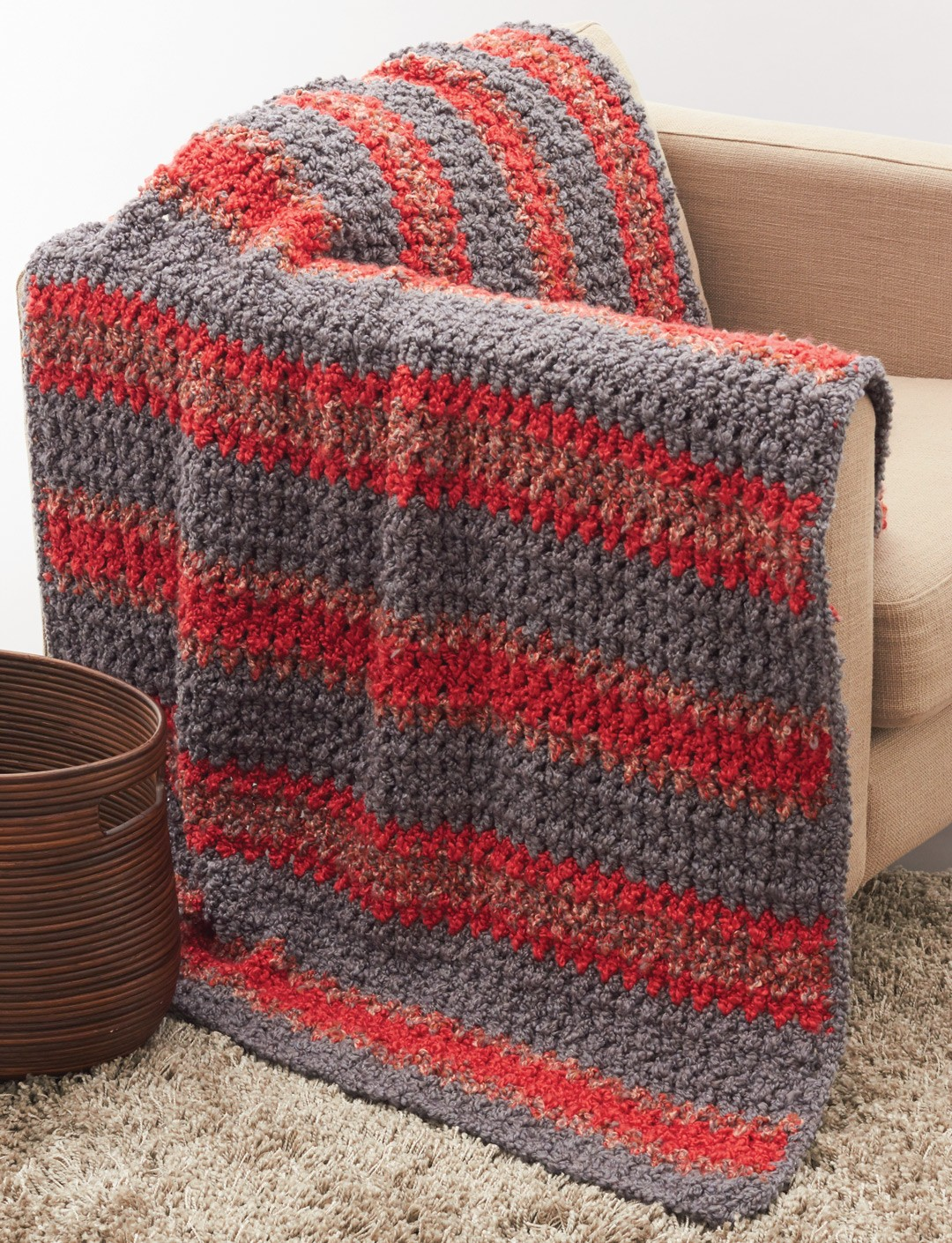 Bernat Striped Crochet Afghan, Crochet Pattern ...