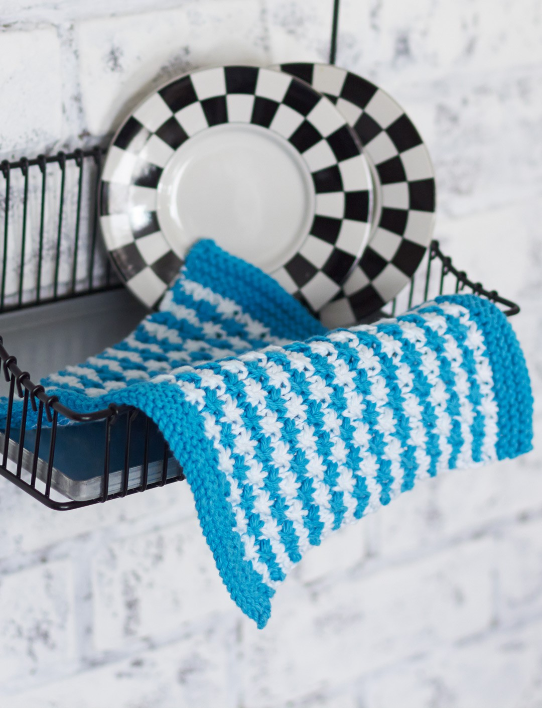 Striped Star Stitch Dishcloth