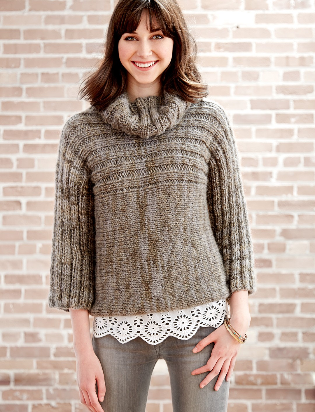 Free Knitting Pattern For Ladies Cowl Neck Sweater : Patons Misty Morning Cowl Neck, Knit Pattern Yarnspirations