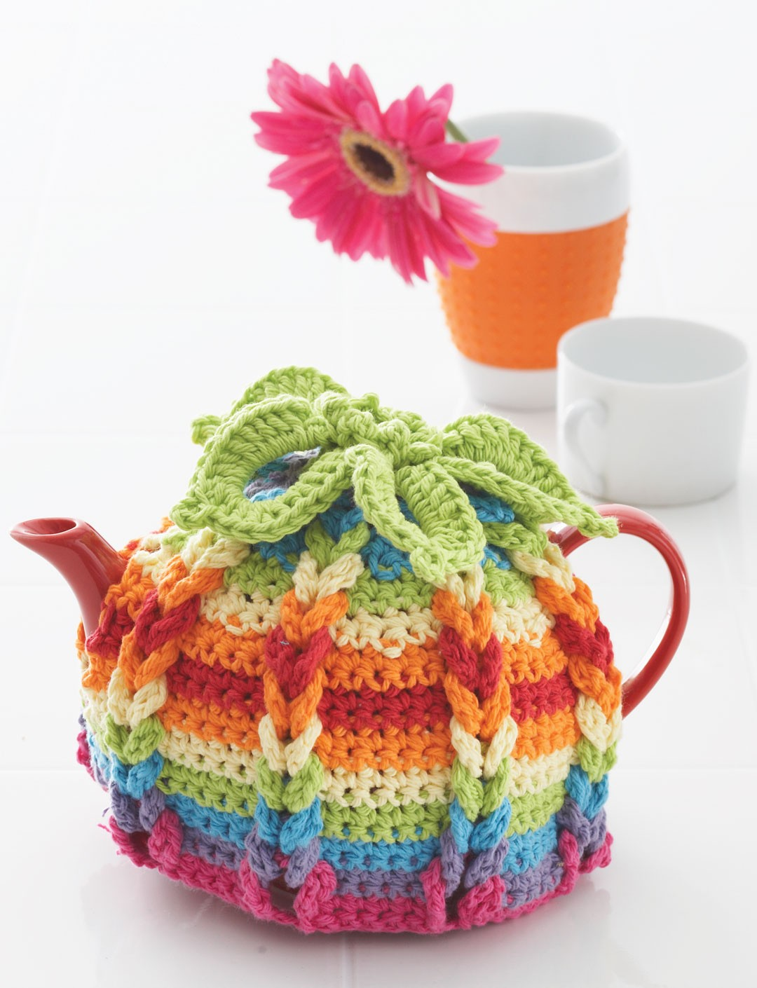Lily hot hibiscus tea cozy crochet pattern yarnspirations for Tea cosy template