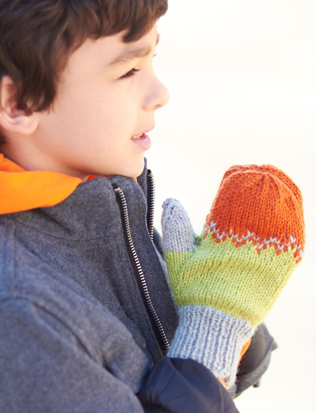 Kids Tri-Color Mittens