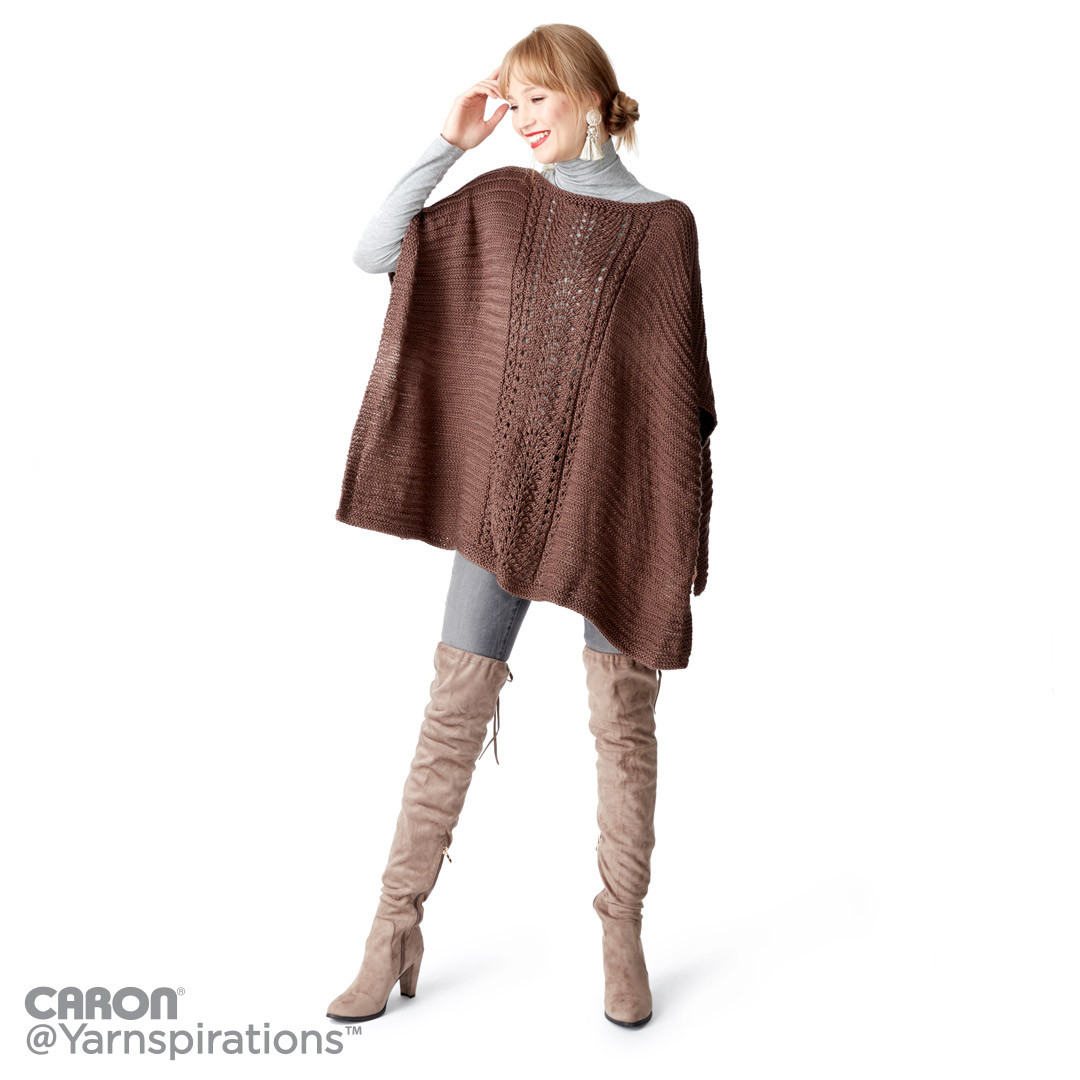 Lace Panel Knit Poncho
