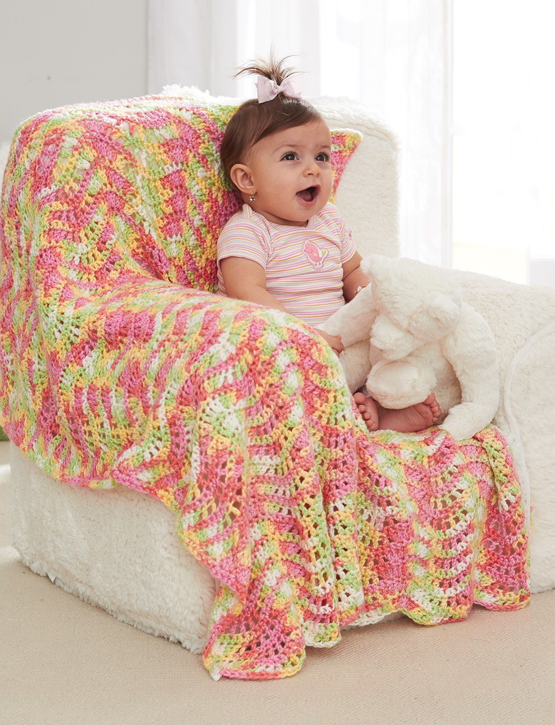 Caron Crochet Baby Blanket Pattern : Caron Baby Waves Blanket, Crochet Pattern Yarnspirations