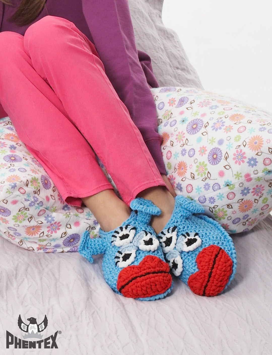 Free Crochet Pattern For Monster Slippers : Phentex Blue Meanie Monster Slippers, Crochet Pattern ...