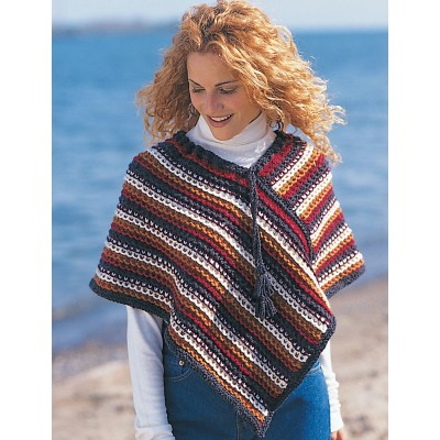 Easy Rustic Stripes Poncho