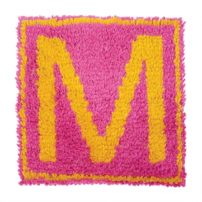 "Wonderart Latch Hook Kit 12"" x 12"" Monogram - Pink"