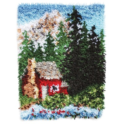 "Wonderart Latch Hook Kit 15"" x 20"" Cozy Cabin"