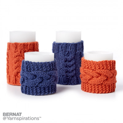 Knit Cable Candle Cozies