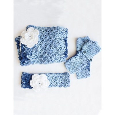 Cozy Posy Set (Headband, Fingerless Gloves, Scarf)