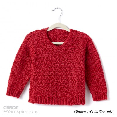 Adult Crochet V-Neck Pullover