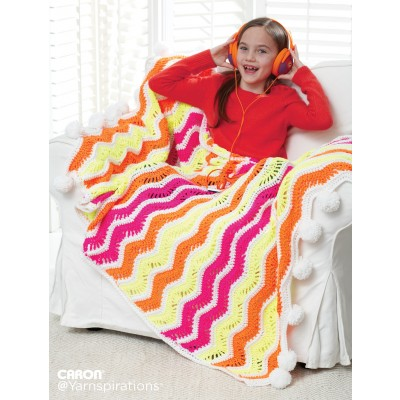 Bright Zig Zag Stripes Crochet Blanket