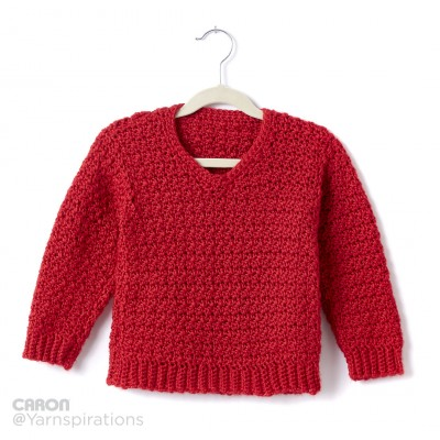 Child's Crochet V-Neck Pullover