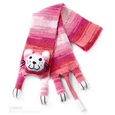 Caron Critters Cat Scarf - Pink