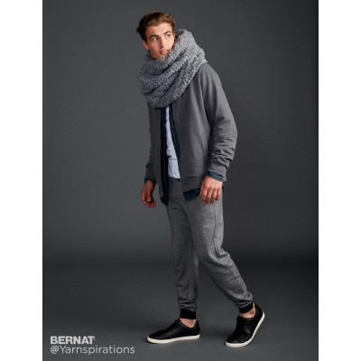 Mens Rib Check Knit Super Scarf