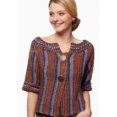 Metallic - Funky Stripes Cardigan (crochet)