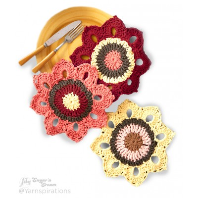Woodsy Sunflower Crochet Dishcloths