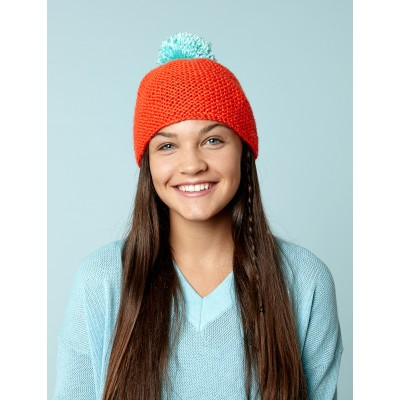 Beanie With Bright Pompom