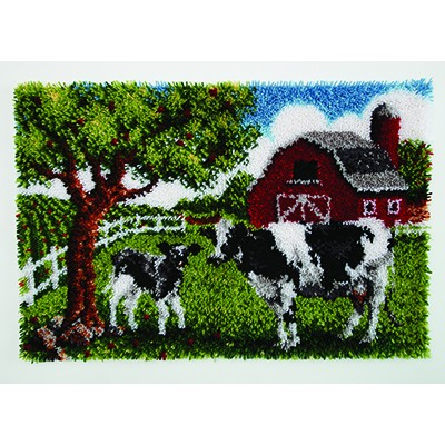 "Wonderart Latch Hook Kit 27""x 40"" Contented Cow"