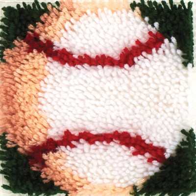 "Wonderart Latch Hook Kit 8"" X 8"" Baseball"