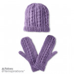Crochet Cables Hat and Mittens Set