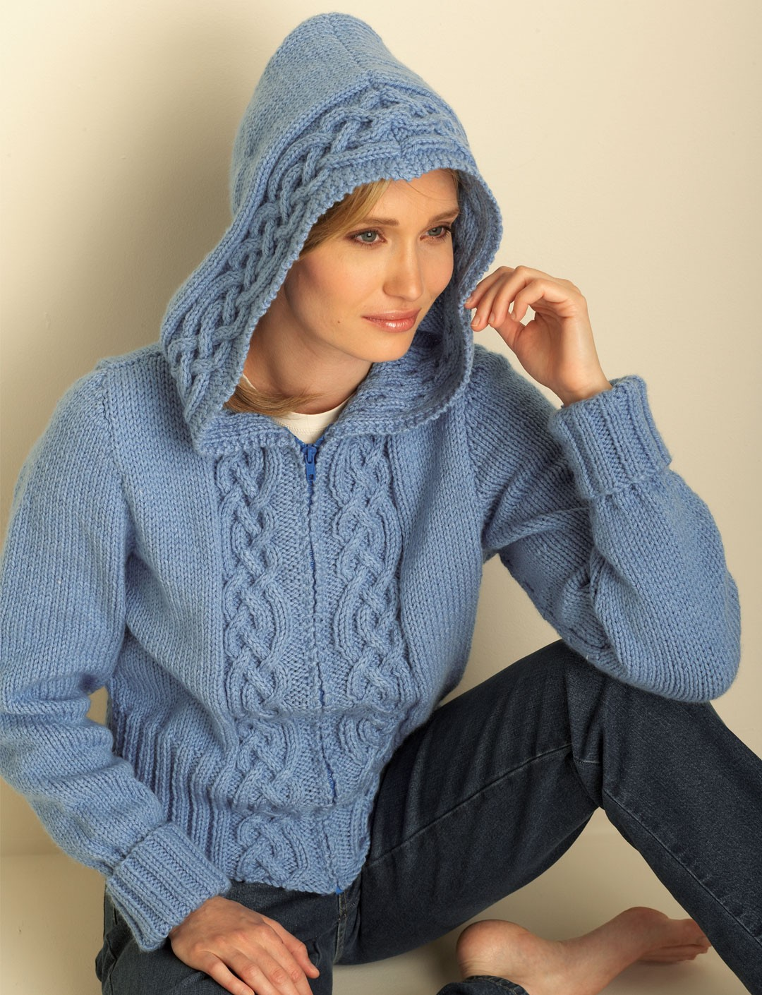 Cozy Cable Hooded Cardigan (Pattern) | Yarnspirations