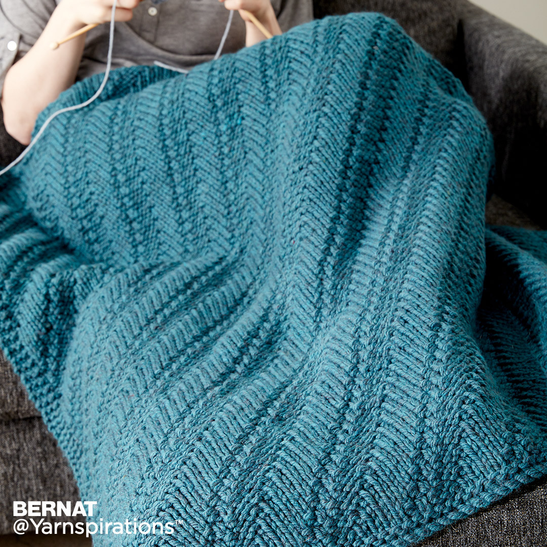 Bernat Reversible Knit Lap Blanket Knit Pattern