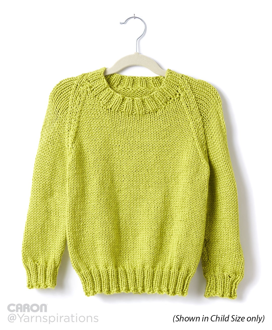Caron Adult Knit Crew Neck Pullover, Knit Pattern ...